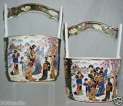 Chinese Made Japanese Asian Porcelain Water Bucket Pair Famille Figurines