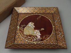 Japanese Antique Lacquered Wooden Tray For Sweets Kashiki Raden Craft Handmade 2