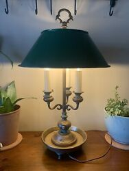 Antique 1900and039s French Brass Bouillotte Lamp With Painted Tole Shade Heavy