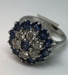 18ct White Gold Sapphire And Diamond Cluster Ring.