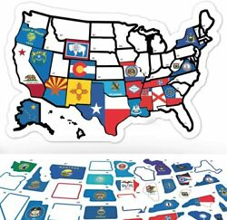 Rv State Sticker Travel Map - 11 X 17 - Usa States Visited Decal - United