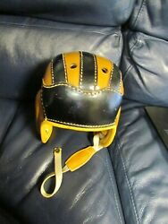 Antique 1930andrsquos Period Leather Football Helmet House Of Harter Rare Notre Dame