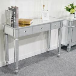 Modern Console Table Mirrored Vanity Table Makeup Desk Silver w 3 Drawers