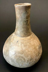 Mlc S4503 Old Solid 4 Sun 8 1/2 Caddo Water Bottle Bowl Pottery Museum Grade Coa