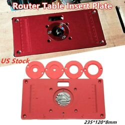 Aluminum Router Table Insert Plate W/ringsandscrew For Woodworking Benches Trimmer