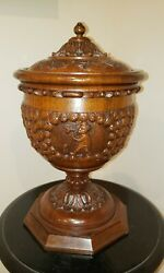 Antique German Black Forest Humidor Pipes Tobacco Museum Quality Wood Carving Il