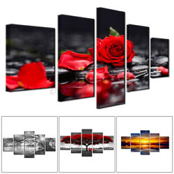 5PC Unframed Modern Flower Art Oil Canvas Painting Picture Print Home Wall Decor $14.99