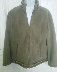 Cabelaand039s Womens Faux Suede Army Green Zip Jacket Coat Aztec Embroidery Trim Lg