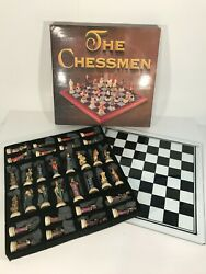 Chessmen Justice Vs Evil Chess Pieces With Glass Chess Board   Hand Painted