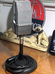 Vintage 1935 Amperite Ra-1 Ribbon Microphone - Works W/ Stand And Cable Read On
