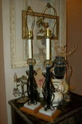VINTAGE SCROLLY IRON CANDLESTICK LAMPS FRENCH FARMHOUSE MARBLE CRYSTAL WOOD