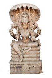 Vintage Handcrafted Unique Laxmi Statue Indian Temple Wood Hand Carving Home Dec