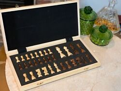Hand Crafted Wooden Portable Folding travel 15quot; Board Chessboard Game Chess Set