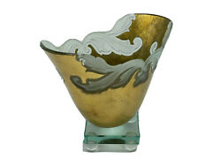 Guenther Luna Studio Art Glass Pedestal Bowl Signed 22k Gold And Frosted Accents