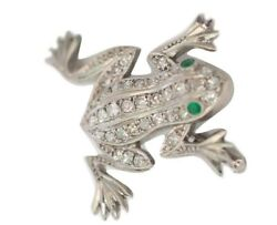 1.20ct Natural Round Diamond 14k Solid White Gold Emerald Wedding Frog Brooch