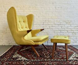 Papa Bear Styled Mid Century Modern Lounge Chair + Ottoman In Canary Yellow