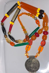 """Large Statement Chunky Necklace Beaded Graduated Lucite Amber Butterscotch 68"""""""
