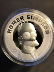 2021 Tuvalu Homer Simpson 2 Oz Silver Proof High Relief Coin Certificate 1975