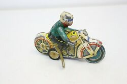 Vintage Tin Wind Up Motorcycle Toy With Rider Wind Up Working -m81