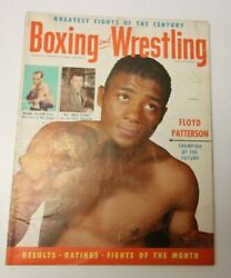 August 1955 Boxing And Wrestling Mag Floyd Patterson Bobo Olson Mickey Walker