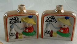 Vintage Flask Bottle Novelty Wee Scotch Old Whisky Boy/girl Humorous Pair