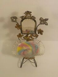 Victorian Whimsey Vanity Accessory, Rainbow Glass Bowl, Mirror And Ormolu Stand