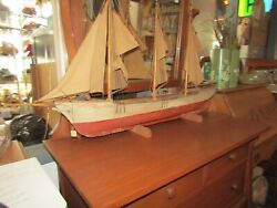 1920and039s Rare Antique Model Ship Sailing Boat Hand Made Wood X933