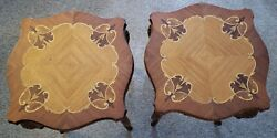 Pair Of Antique French Louis Xvi Style Carved End Table Marquetry Inlaid Top