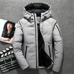 Classic Hooded Down Men Coat White Duck Down Jacket Thick Warm Casual Zippers