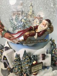 Partylite Christmas Globe Motorized Snow ❄️ North Pole Santa Claus Is Coming🎶