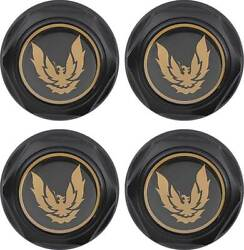 Oer Flat Black Wheel Center Cap Set W/ Late Gold Bird Logo 1982-1992 Firebird