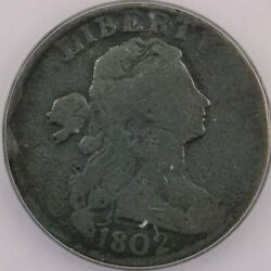1802-p 1802 Draped Bust Large Cent Icg G6 Stemless