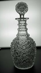 Abp Cut Glass Crystal Decanter W/a Pattern Cut Stopper In Russian Pattern