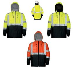 Menand039s Full Zip Fleece Lined Safety Jacket Hood Reflective Ansi Tall Lt-6xlt