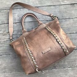 Cavalcanti Large Brown Leather Tote Shopper Travel Bag Satchel Hobo Bucket Purse $59.99
