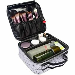OXYTRA Makeup Bag Zebra Print PU Leather Travel Cosmetic For Women Girls Large $31.91