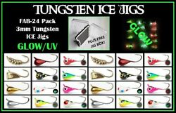 3mm Tungsten Ice Fishing Fly Jig 24pk Free Jig Tackle Box 16 Hook Crappie Pike