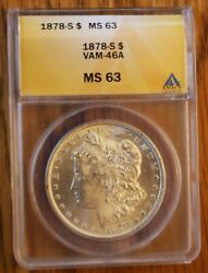 1878-s Anacs Ms63 Vam 46a - Engraved Wing Feather Extra Wreath Berry Die Break