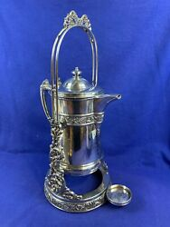 Antique Meriden B. Company Silver Plated Tilting Pitcher Coffe Stand 1893 - B848