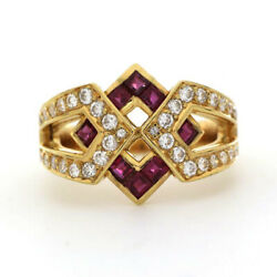 1.20ct Natural Round Diamond 14k Solid Yellow Gold Ruby Cocktail Ring Size 7