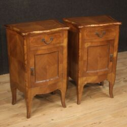 Pair Bedside Tables Antique Style Louis Xv Furniture Wood Nightstands Bedroom