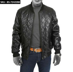 Menand039s New Style Black Bomber Jacket Fully Quilted Real Leather Varsity Jacket