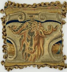 Antique 18th Century Aubusson Pillow Featuring A Rams Head With Tassel Trim