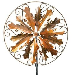 Antique Style 7and039 Copper Metal Kinetic Wind Spinner Garden Art Outdoor Decor Xl
