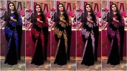 NEW SEQUENCE SAREE INDIAN PAKISTANI BOLLYWOOD NEW PARTY WEAR CASUAL ETHNIC SARI