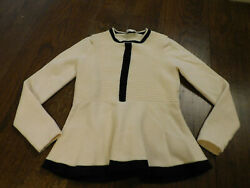 Moli Tree Paris 100 Wool Long Sleeve Sweater Fit And Flair Ivory Black Bands Xxs
