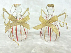 New Set 2 Glass Angel Ornament Figurines Gold Red Accents Glitter Halo And Bow