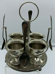 Vintage Silver Plated Egg Server For 4 Caddy Spoon Cup Set Tray Rare