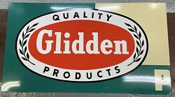 Large Vintage Glidden Products Sign - Porcelain Coated Steel - 64andrdquo X 36andrdquo