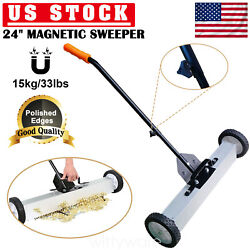 24 '' Magnetic Sweeper Large Magnet Pickup Lawn Yard Sweeper Roofing Tools 33lbs